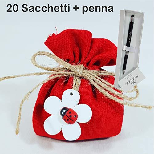 Sindy Bomboniere 20 Sacchetti portaconfetti Laurea, cresima Juta con Cordoncino e Fiore in Legno con Coccinella + 1 Penna