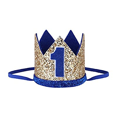 IEFiEL Baby Boys Girls 1st 2nd Birthday Party Shiny Crown Hat Cake Smash Photography Prop Hair Accessories