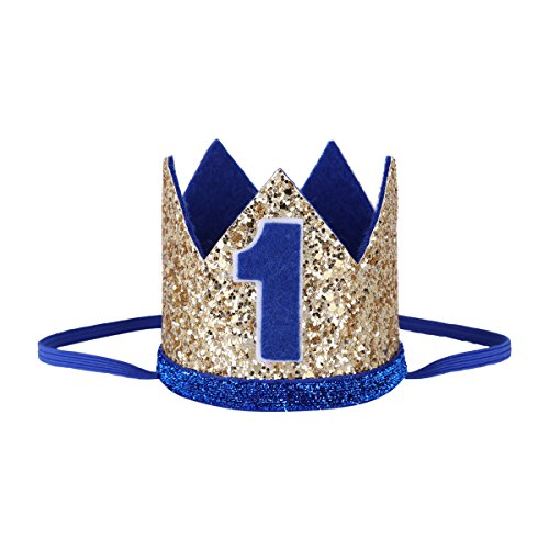 iEFiEL 1 jahr Geburtstag Baby Mädchen Jungen Haarschmuck Stirnband Baby Krone 1 jahr Babyschmuck Prinzessin Haarband (One Size, Unisex Gold & Blau 1 jahr)