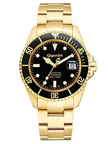Gigandet Sea Ground Herrenuhr Automatik Analog Edelstahlarmband Luxus Uhr gold Datum 42 Std Gangreserve 300 Meter/30 bar Automatikuhr G2-004