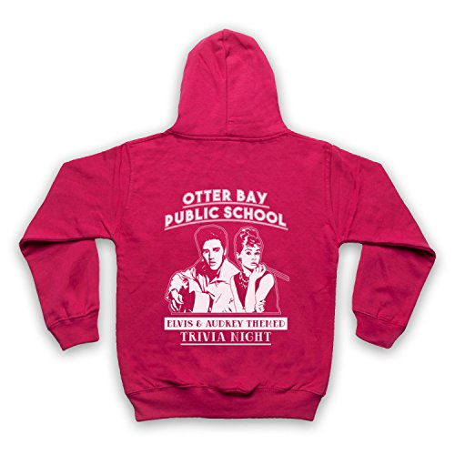 Inspiriert durch Big Little Lies Elvis & Audrey Themed Trivia Night Inoffiziell Kinder Kapuzensweater mit Reißverschluss, Rosa, 9-11 - Film Trivia