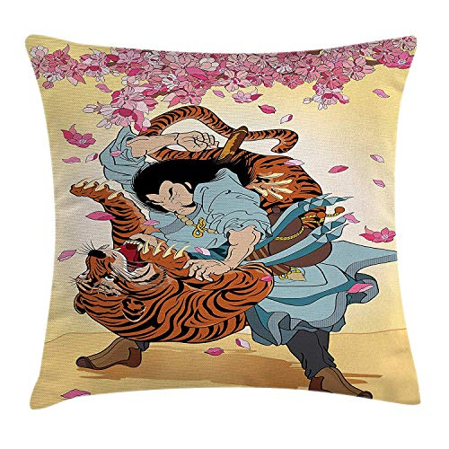 Icndpshorts Japanese Throw Pillow Cushion Cover, Brave Samurai and Tiger Clash Turn into Floral Sakura Cherry Blossoms Cartoon Print, Decorative Square Accent Pillow Case, 26 X 26 Inches, Multi