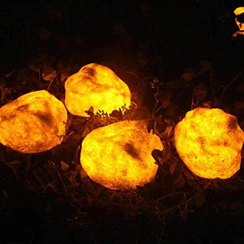 JAYLONG Solarleuchten Flamme Stein Feuer Outdoor-Landschaft Lampe für Weg, Pfad, Garten, Rasen, Hof, Korridor, Terrasse, Veranda mit Smarthing 3 Platziert Weg Wireless, wasserdicht -