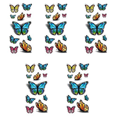 Luckyx adesivi per tatuaggi, 5 fogli impermeabili tatuaggi temporanei colorati 3d farfalla body art resistenti all'usura, per adulti bambini mano collo polso spalla