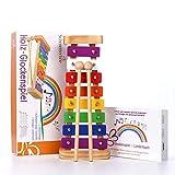 SCHMETTERLINE® harmonisches Xylophon für Kinder aus Holz – Glockenspiel mit Notenheft und 2 Holz-Schlägeln – Musikinstrument ab 3 Jahren mit wundervollen Klängen