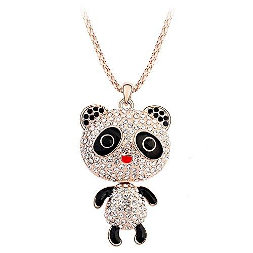 Claras-collana con pendente a forma di panda, catena di chandail da donna fantasia, con cristalli austriaci, 80 cm