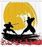 ABAKUHAUS Japonés Cortina de Baño, Estilo Acuarela Siluetas Ninjas
