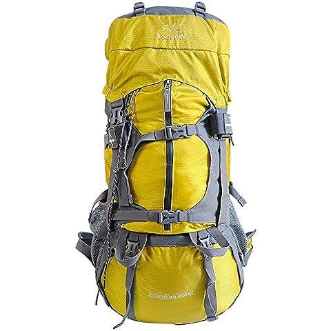 A new day-All'aperto alpinismo borsa 45 + 5 L viaggio zaino uomini e donne per il tempo libero zaino pioggia copertura spalla borsa da viaggio , yellow