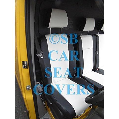 2014Mercedes Sprinter van a medida de fundas de asiento negro + color blanco polipiel