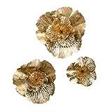 Pureday Dekoobjekt Golden Flower 3er Set - Wanddeko - Blumen aus Metall - Gold