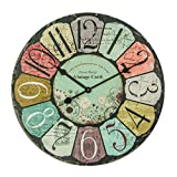 XIAOLVSHANGHANG Clock Runde Wanduhr, Amerikanischen Retro Industrie Stil Wohnzimmer Schlafzimmer Hängen Tisch Restaurant Kreative Uhr Stille Uhr 40 cm (Farbe : A)