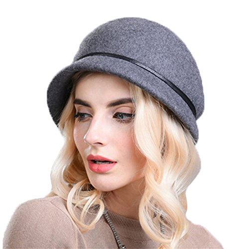 sch Simple Herbst Winter Barett Bucket Hat Filzhut Mixed Grau (Berret Hüte)