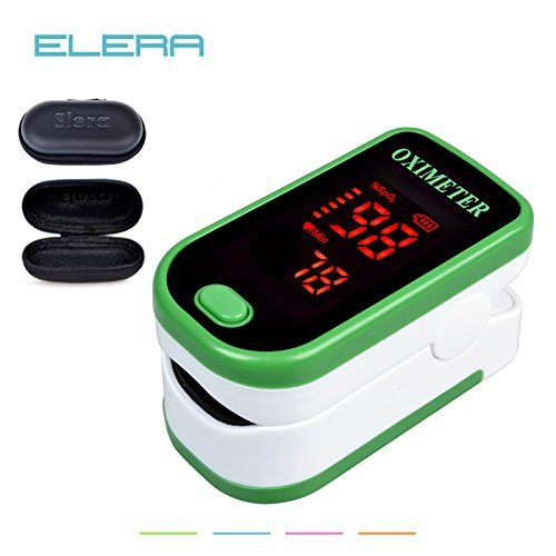 Generic green : ELERA LED Fingertip Pulse Oximeter With Case Blood Oxygen SPO2 PR Saturation Portable Oximetro Monitor oximetro de dedo