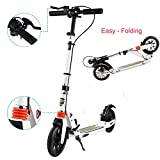 ULTREY Klappscooter Adult Scooter mit Big Wheel 200mm, Hinten Bremse Falten Adult Scooter Handbremse Kick Scooter, Dual Suspension City Scooter - Max. 220 lbs