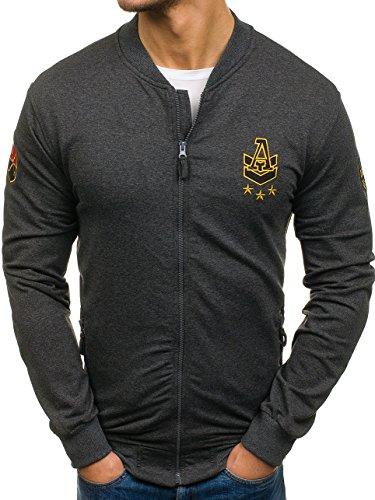 BOLF Herren Sweatshirt Sweatjacke Langarmshirt Stehkragen Zip 1A1 MIX Anthrazit_0491