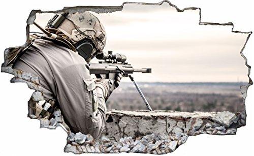 DesFoli Sniper Soldat Scharfschütze Kampf Krieg Militär 3D Look Wandtattoo 70 x 115 cm Wand Durchbruch Wandbild Sticker Aufkleber C202