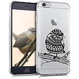 kwmobile Funda para Apple iPhone 6 / 6S - Case para móvil en TPU silicona - Cover trasero Diseño Pájaro azteca en negro transparente