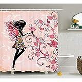 HANYULIAN Cortina de Ducha Cortina de Ducha para niñas Decoración de Hadas Mariposas y Flores Rosadas