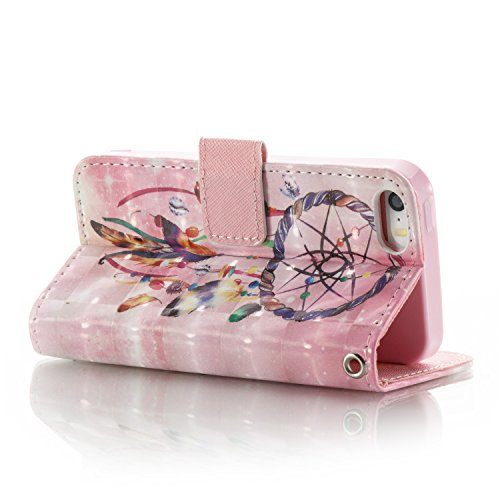 Custodia Cover per iPhone 5/5S/SE ,Ukayfe Luxury Glitter Modello Bumper Slim Folio Protectiva Lussuosa PU pelle Custodia Flip Cover per iPhone 5/5S/SE con 3D Diamante Design, [Shock-Absorption] Portaf Pearl Campanula