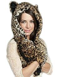 LATH.PIN Husky Faux Fur Animal Capucha Sudadera Sombrero 3-en-1 Guantes patas Spirit bufanda Manoplas