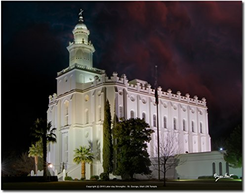 Latter-day Strengths LDS Tempel - St. George, Utah - Sunset Farbe Print 14x11 Night (Foto-papier Glanz 11x14)