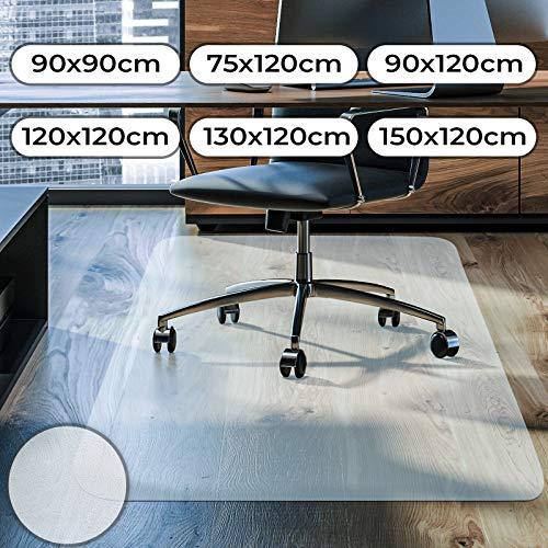 Bodenschutzmatte - Größenwahl 75 90 120 130 150 cm, kratzfest, rutschfest, Transparent Weiß - Bodenmatte, Bodenschutz, Bürostuhlunterlage, Unterlegmatte, Schutzmatte für Laminat, Parkett, Hartböden (150 x 120 cm)
