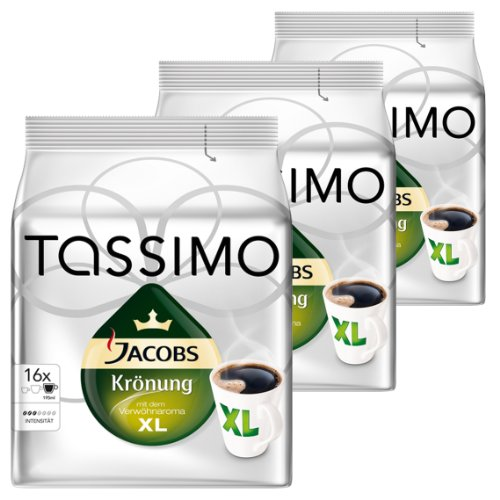 Tassimo Jacobs Krönung XL, Arabica, Capsule Caffè, Caffè Tostato Macinato, Pacco da 3, 3 x 16 T-Discs