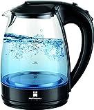 HOFFMANNS 1,7 Liter Glas-Wasserkocher mit LED-Beleuchtung - kabelloser Glaswasserkocher im edlen Design (Schwarz)