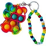 Pop bubble fidget portachiavi personalizzato con nome e perline charm Joy. Gioco antitress e scacciapensieri. Idea regalo fan