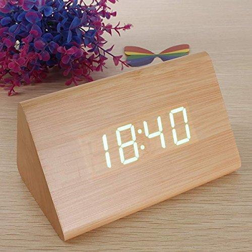 Preisvergleich Produktbild EsportsMJJ Trieckig Hölzerne Led Alarm Clock Holz Digitales Thermometer Clock-Braun + Grün