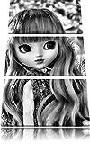 Monocrome, petite poupée dans la forêt d'automne 3 PC image toile 120x80 image sur toile, XXL énormes photos complètement encadrées avec civière, imprimé Art mural avec cadre gänstiger comme une peinture ou une peinture à l'huile, pas poster ou une affiche