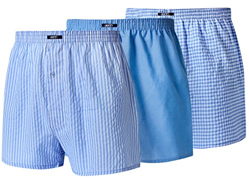 Moonline nightwear Schlafanzughose Kurz Herren Schlafhose Pyjamahose Kurz Herren Kurze Pyjamahose aus BaumwolleGrösse 5 3 Stück Blau (3 Stück Pyjama Nachtwäsche)