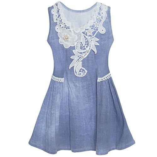 BEZLIT Mädchen Kleid Festkleid Peticoat Freizeit Abend-Kleid Jeans-Optik 21297 Blau Größe 152 -