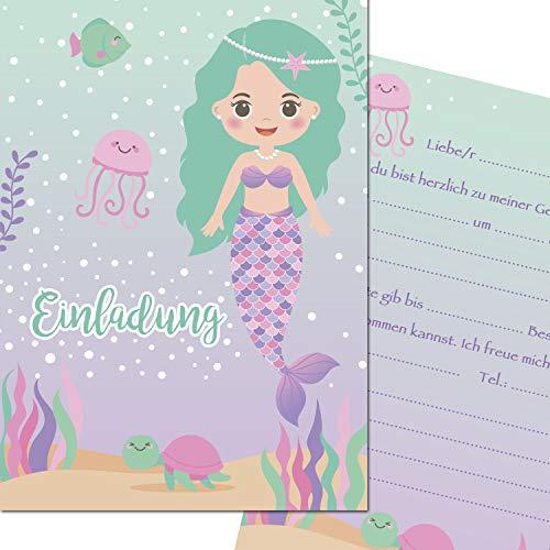 ungfrau Nixe Einladungskarten zum Kindergeburtstag (10er Set) Einladungen Unterwasserwelt A6 Kinder Party Mädchen (10 Karten) ()