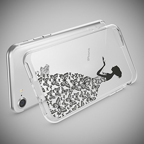 iPhone 8 / 7 Hülle Handyhülle von NICA, Slim Silikon Motiv Case Crystal Schutz Dünn Durchsichtig, Etui Handy-Tasche Back-Cover Transparent Bumper für Apple iPhone 7 / 8 - Transparent Princess Schwarz