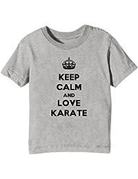 a9865ff91a69cd Keep Calm And Love Karate Bambini Unisex Ragazzi Ragazze T-Shirt Maglietta  Grigio Maniche Corte