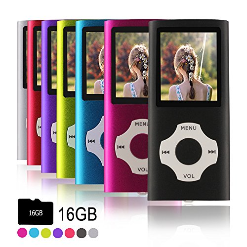 Ueleknight MP3-Player MP4-Player mit Einer 16G Micro SD-Karte, Wiedergabe 16GB Musik-Player Hi-Fi-Sound, tragbarer digitaler Musik-Player mit FM-Radio und Voice Recorder Funktion-schwar
