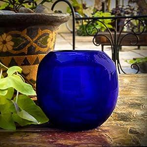 Glasmanufaktur Mitienda, Vase aus Glas, blau, Windlicht, Blumenvase mit Bauch klein, Teelichthalter, mundgeblasene Vase aus Mexiko, Glas-Recycling