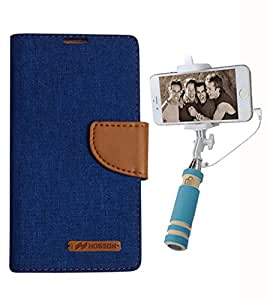Aart Fancy Wallet Dairy Jeans Flip Case Cover for HTC826 (Blue) + Mini Fashionable Selfie Stick Compatible for all Mobiles Phones By Aart Store