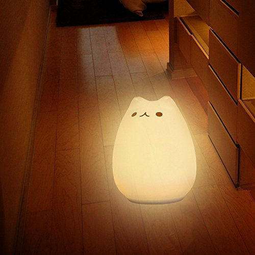 SOLMORE Children Night Light LED Cute Silicone Cat Lamp,Kids Bedside Lights,Warm White/7-Colour Single/Color changing,USB Rechargeable,Sensitive Tap Control Fairy Light for Baby Bedroom Nursery Birthday Gift