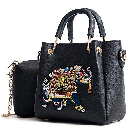 Women's Vintage Fashion Schultertasche Gestickte Abzeichen Kleine Elefant Diagonal Bag Double Griff Bag Bucket Bag (Gestickte Abzeichen)