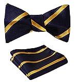 #9: SetSense Men's Stripe Jacquard Woven Self Bow Tie Set One Size Navy Blue / Yellow