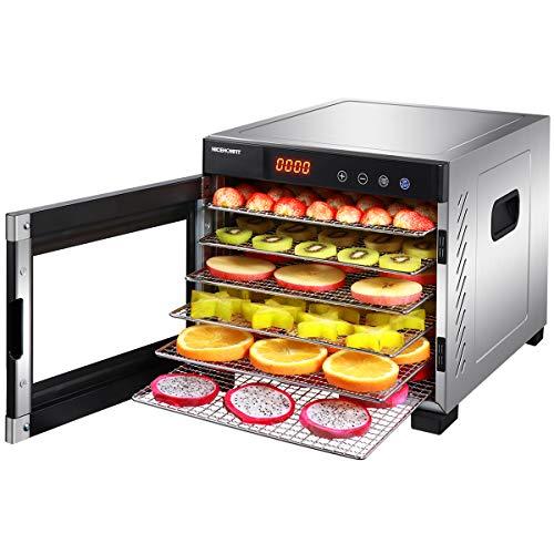 Nicehomfit Dörrautomat – Edelstahl Dörrgerät – 6 verstellbaren Einschübe, BPA-frei, LED-Anzeige mit Timer, Temperaturkontrolle und Auto-Off für Fleisch, Obst, Brot