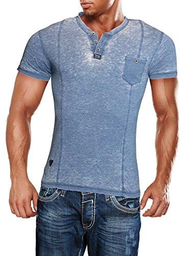 Herren T-Shirt Slimfit Crushed Vintage Shirt Männer Rerock Henley Blau