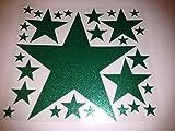 Bügelbild, Motiv: Sterne, Farbe: grünglitzernd, Setgröße: maxi, heißsiegelfähige Flexfolie