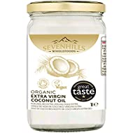 Sevenhills Wholefoods 1L Organic Extra Virgin Raw Coconut Oil (cold-pressed) for cooking, baking, skin moisturiser & hair conditioner