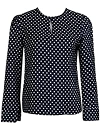 Tomatoa Frauen beiläufige Lange Hülsen Blusen Sommer Chiffon V-Ausschnitt  Langarm Tupfen Hemd Oberseiten Shirts 7281a8b5da
