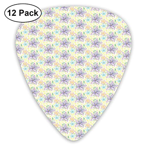 Guitar Picks12pcs Plectrum (0.46mm-0.96mm), Colorful Curves And Swirls Background With Vintage Inspirations Doodle Style Nature,For Your Guitar or Ukulele (Nails Swirl Halloween)