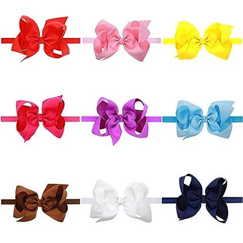jianzhenkeji 9PCS 15* 8cm GRAND Dimension Neugeborene Baby Mädchen Satin übergroßer Schleife Schmetterling Knoten Haarband Stretch Stirnband (Pink Ribbon Wrap)