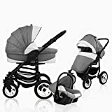 Bebebi Florenz | Hartgummireifen in Weiß | 3 in 1 Kombi Kinderwagen | Farbe:Galileo Lightgrey Black